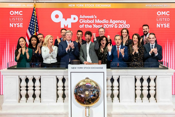 OMD Worldwide CEO Florian Adamski rings the opening bell at the New York Stock Exchange on Monday February 24th