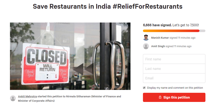 Petition · Save Restaurants in India ReliefForRestaurants · Change org