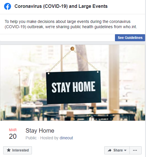 #LetsStayHome, Dineout