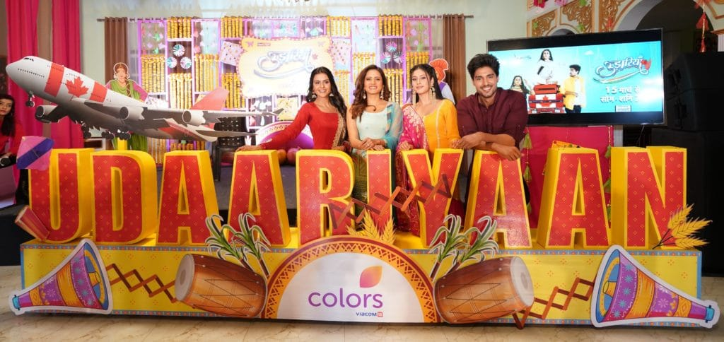 Priyanka-Choudhary-as-Tejo-Producer-Sargun-Mehta-Isha-Malviya-as-Jasmine-and-Ankit-Gupta-as-Fateh-at-the-launch-of-COLORS-Udaariyaan.-scaled.jpg
